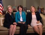 PHOTO: Senator Kirsten Gillibrand (D) New York, Representative Kath McMorris Rodgers (R) Washington, and Representative Linda Sanchez (D) California on This Week