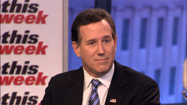 """PHOTO: Former Republican presidential candidate Rick Santorum appears on the """"This Week"""" roundtable."""