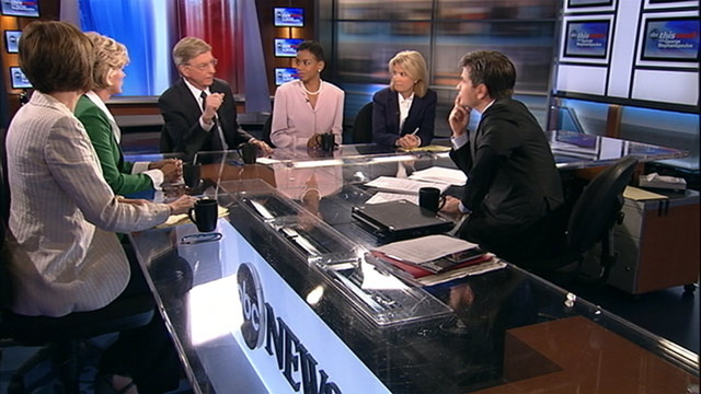 "PHOTO: ABC News George Will, Rep. Donna Edwards, D-Md., Host of Current TVs ""The War Room"" and former Michigan Gov. Jennifer Granholm, Republican strategist Mary Matalin; and FOX News anchor Greta Van Susteren on ""This Week."""