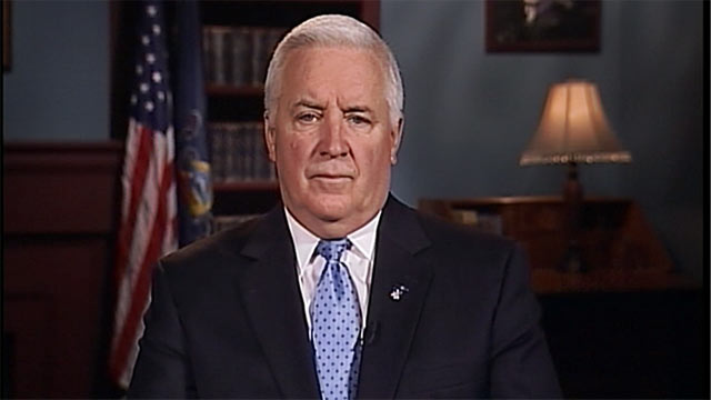 "PHOTO: Pennsylvania Governor Tom Corbett is interviewed on ""This Week"" about the fallout from the Penn State abuse scandal."