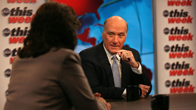 """PHOTO:White House Chief of Staff Bill Daley appears on ABC News """"This Week with Christiane Amanpour"""""""