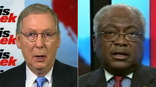 """PHOTO:Senate Minority Leader Mitch McConnell and House Assistant Minority Leader James Clyburn appear on """"This Week"""" with Christiane Amanpour"""