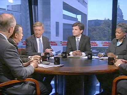 A picture of Donna Brazile, George Stephanopoulos, George Will, Thomas Friedman and David Gergen.