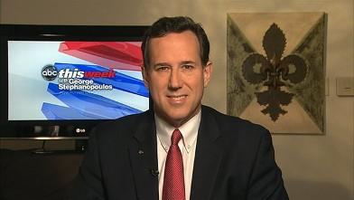 """PHOTO: Republican Presidential Candidate Rick Santorum on """"This Week."""""""