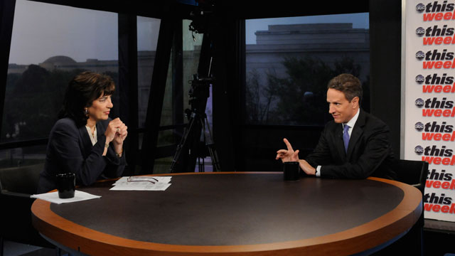 PHOTO:Treasury Secretary Timothy Geithner appears on This Week with Christiane Amanpour