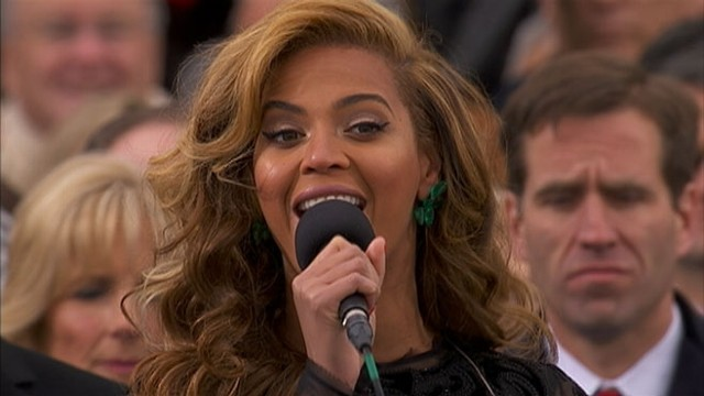 VIDEO: Beyonce sings national Anthem at presidential inaugural ceremony.