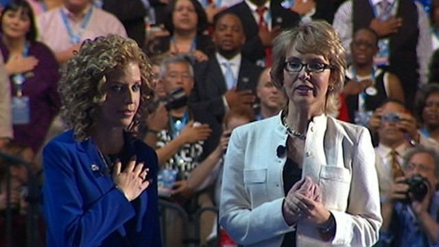 VIDEO: Former Arizona congresswoman appears in Charlotte to a cheering crowd.