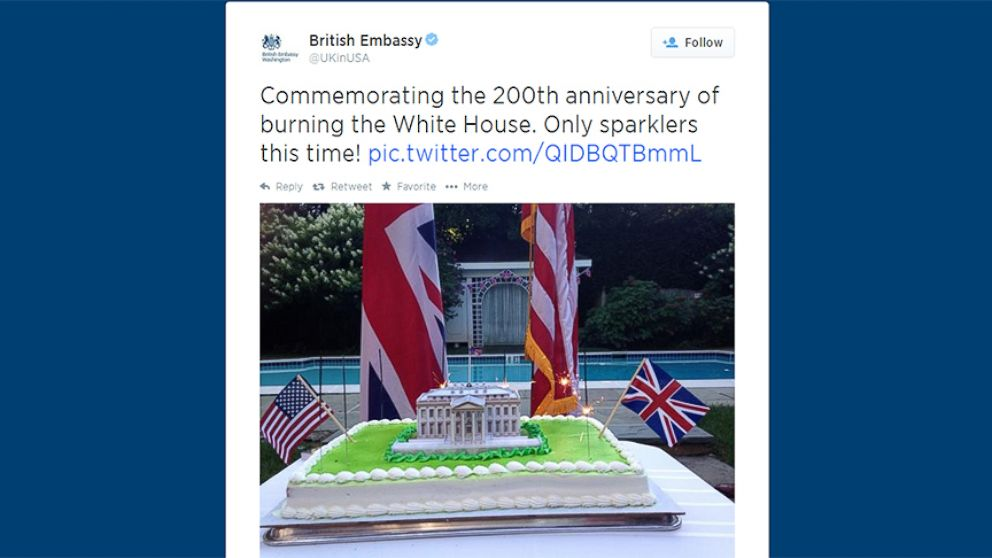 VIDEO: A message on the embassys official Twitter account poked fun at the anniversary of British troops invading Washington, D.C.