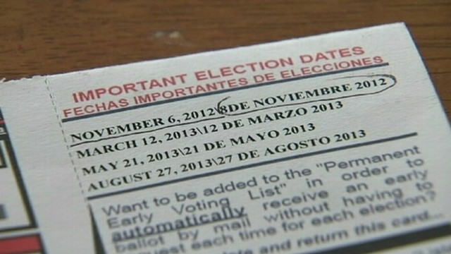 VIDEO: Document with voter ID card shows election date in Spanish as Nov. 8.