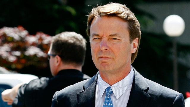 PHOTO: Former presidential candidate and U.S. Sen. John Edwards arrives outside federal court following a lunch break in Greensboro, N.C., Thursday, April 12, 2012, where jury selection is underway in his criminal trial on alleged campaign finance violati