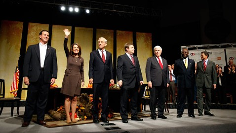 ap Republicans Iowa jt 111119 wblog Herman Cain, Rick Santorum Tear Up at Iowa Presidential Forum