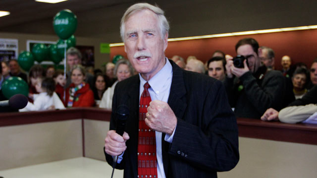 PHOTO: Angus King, Independent candidate for the U. S. Senate, speaks to supporters as he officially opens his campaign office in Brunswick, Maine, April 9, 2012.