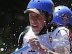 PHOTO: New York Gov. Andrew Cuomo, left, and New York City Mayor Michael Bloomberg, right, navigate whitewater rapids