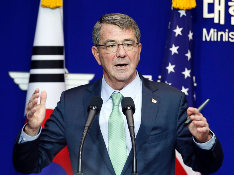 PHOTO: U.S. Defense Secretary Ash Carter during a joint news conference with South Korean Defense Minister Han Min Koo after the 47th Security Consultative Meeting at Defense Ministry on Nov. 2, 2015. in Seoul, South Korea.