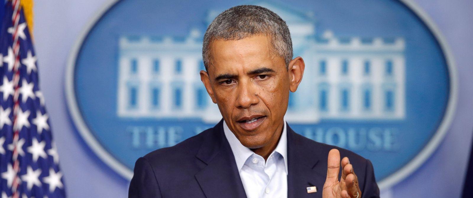 PHOTO: President Barack Obama speaks on Iraq and Ferguson, Missouri in White House in Washington on Aug. 18, 2014.