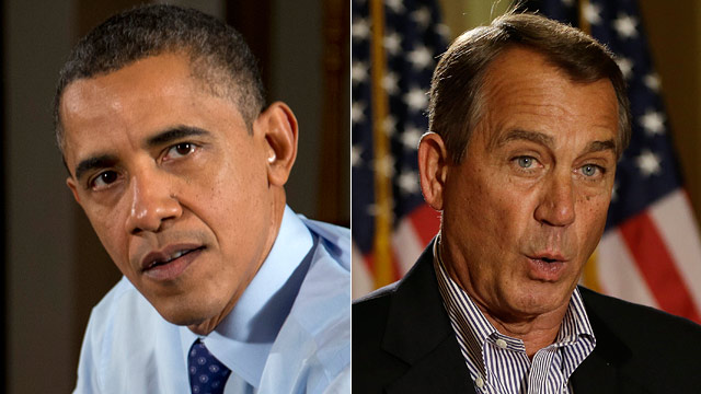 PHOTO: President Barack Obama gestures as he speaks to the media during a visit with to Falls Church, Va., Thursday, Dec. 6, 2012 and House Speaker John Boehner of Ohio gestures as he speaks during a news conference on Capitol Hill in Washington, Friday,
