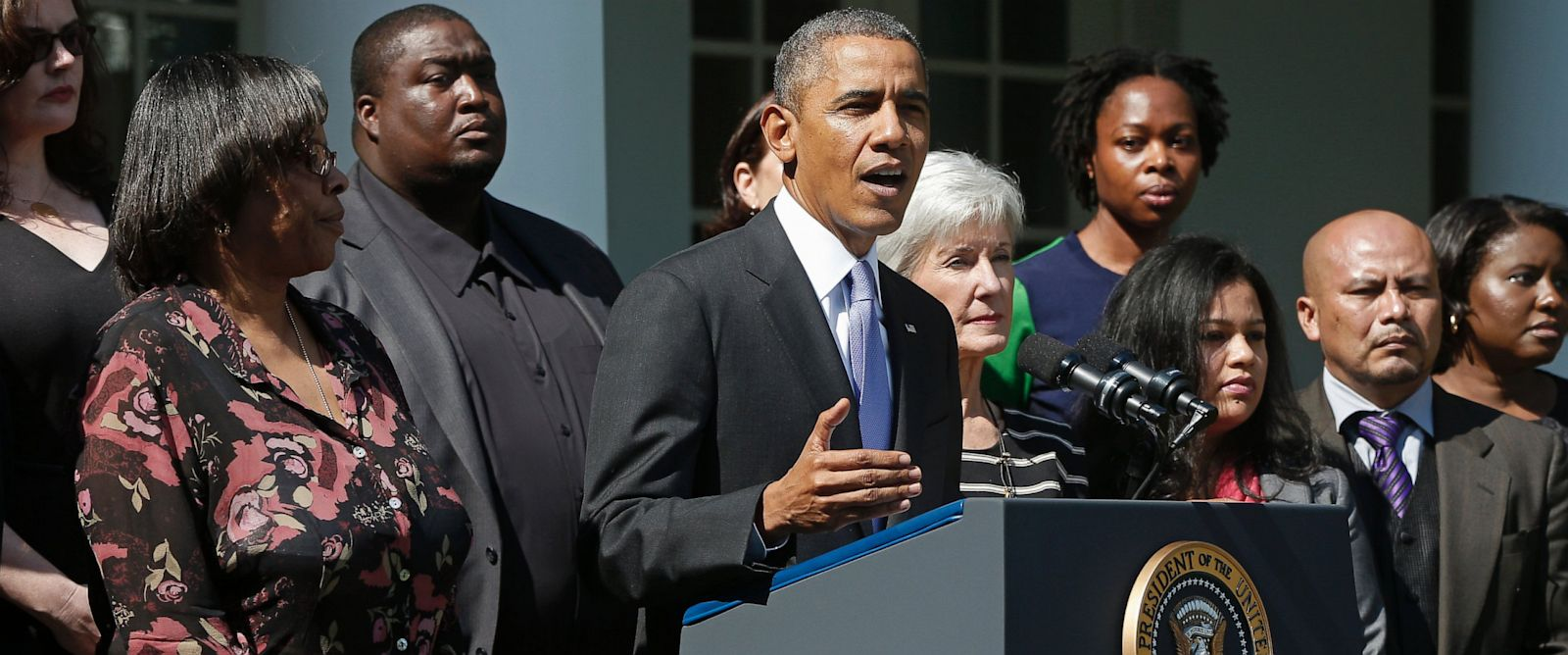 PHOTO: President Obama, HHS Secretary Kathleen Sebelius during press conference