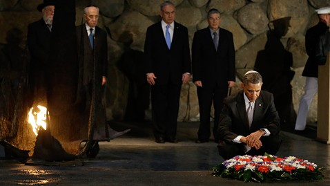 ap barack obama yad vashem ll 130322 wblog Obama Forced to Drive Past Walls Between Israelis, Palestinians Into Bethlehem