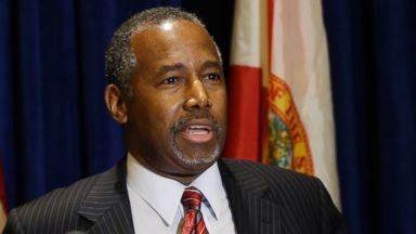 PHOTO: Republican presidential candidate Ben Carson speaks during a news conference before attending a Black Republican Caucus of South Florida event benefiting the groups scholarship fund om Nov. 6, 2015, in Palm Beach Gardens, Fla.