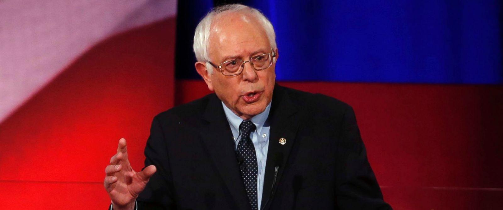 PHOTO: Democratic presidential candidate, Sen. Bernie Sanders, speaks at the NBC, YouTube Democratic presidential debate at the Gaillard Center on Jan. 17, 2016, in Charleston, S.C.