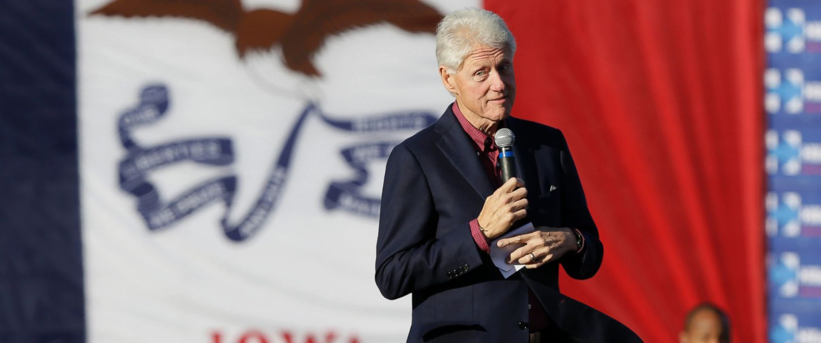 PHOTO: Former president Bill Clinton speaks during a rally for his wife, Democratic presidential candidate Hillary Rodham Clinton, before the Iowa Democratic Partys Jefferson-Jackson Dinner, Saturday, Oct. 24, 2015, in Des Moines, Iowa.