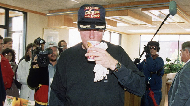 PHOTO: Bill Clinton sips coffee at a McDonald's restaurant in Little Rock, Ark., Nov. 9, 1992, following his morning run.