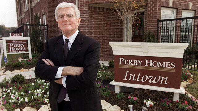 PHOTO: Houston homebuilder Bob Perry, poses at the sales center at one of his Houston developments, Dec. 10, 2002.