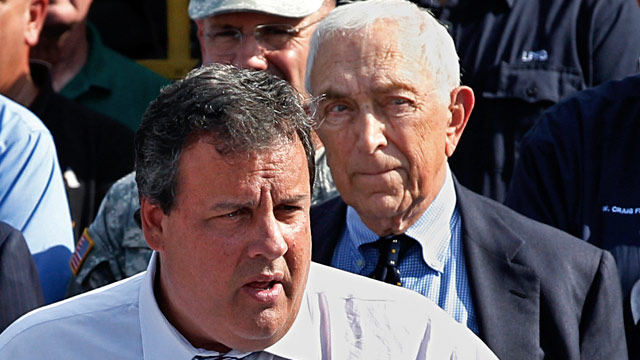 PHOTO: Sen. Frank Lautenberg, right, D-NJ, listens as New Jersey Gov. Chris Christie addresses a gathering in Lincoln Park, N.J., in this Aug. 31, 2011 photo.