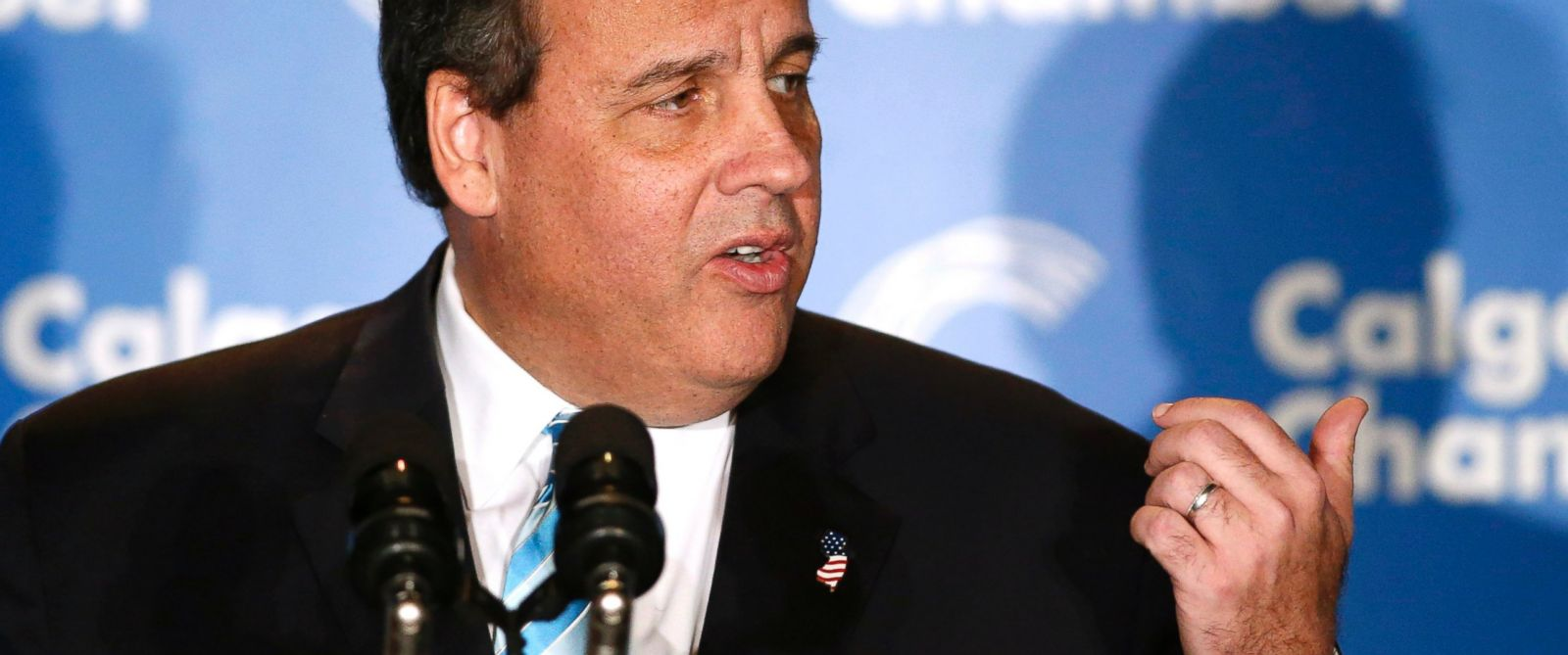 PHOTO: New Jersey Gov. Chris Christie speaks at the Energy Sector Luncheon in Calgary, Alberta on Dec. 4, 2014.