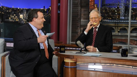 ap christie 130205 wblog Chris Christie and David Letterman Talk Fat Jokes in Governors First Appearance