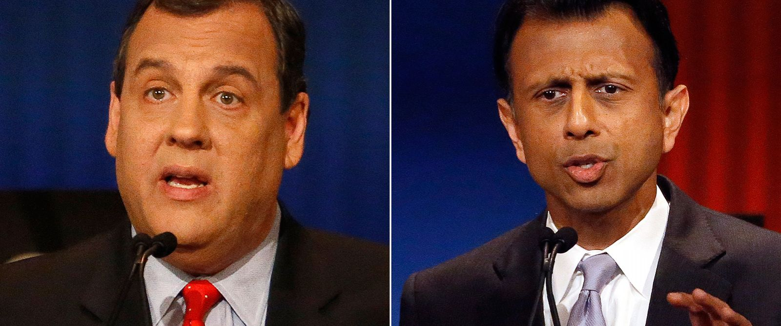 PHOTO: Chris Christie and Bobby Jindal during Republican presidential debate at Milwaukee Theatre, Nov. 10, 2015, in Milwaukee.