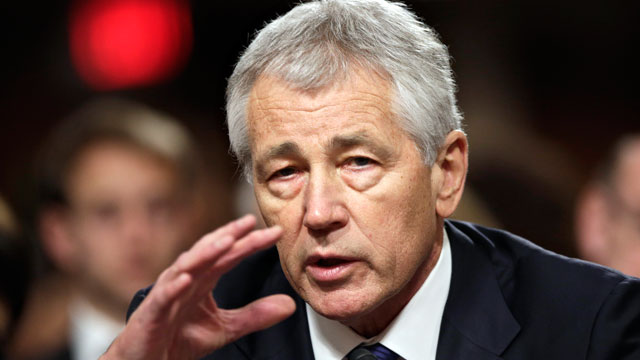 PHOTO: In this Jan. 31, 2013 photo, former Nebraska Republican Sen. Chuck Hagel, President Obama's choice for defense secretary, testifies before the Senate Armed Services Committee during his confirmation hearing, on Capitol Hill in Washington.