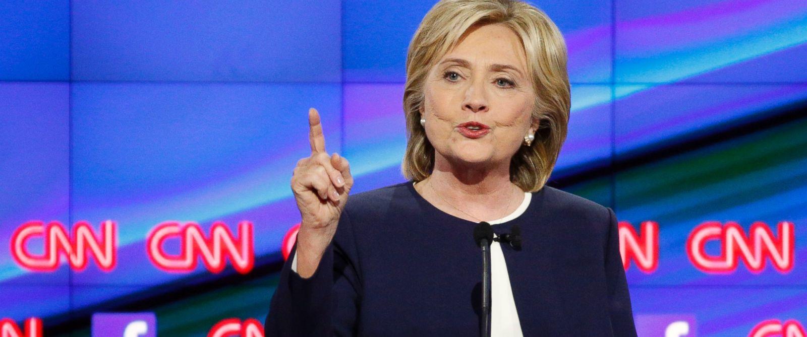 PHOTO: Hillary Rodham Clinton speaks during the CNN Democratic presidential debate, Oct. 13, 2015, in Las Vegas.