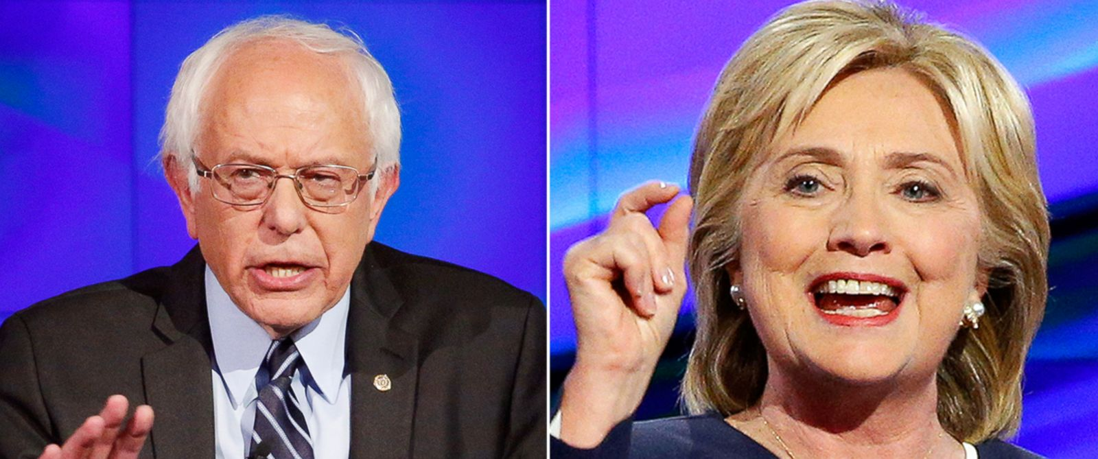 PHOTO: Bernie Sanders and Hillary Clinton during the CNN Democratic presidential debate in Las Vegas, Oct. 13, 2015.