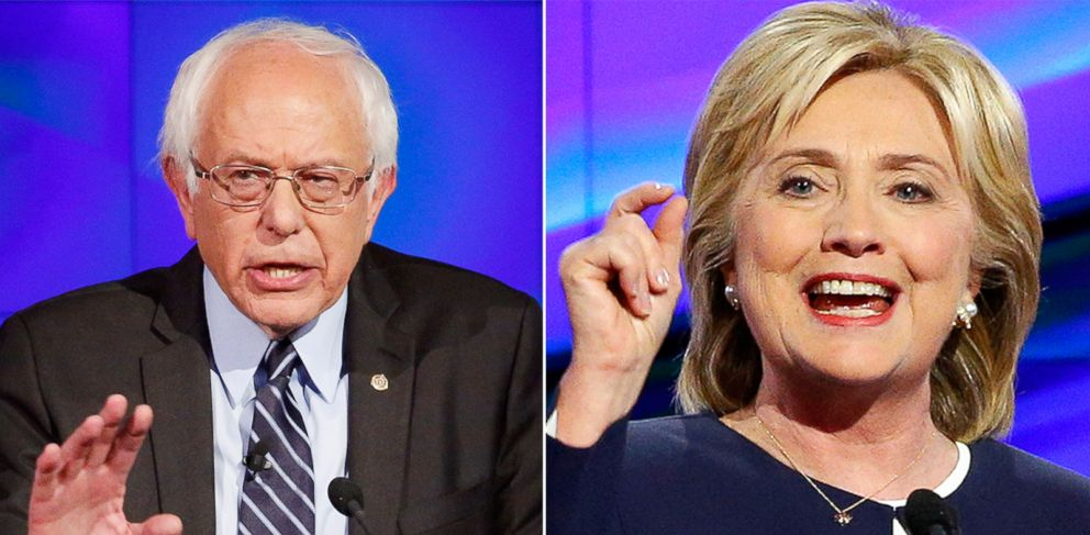 PHOTO: Bernie Sanders and Hillary Clinton during the CNN Democratic presidential debate in Las Vegas, Oct. 13, 2015.