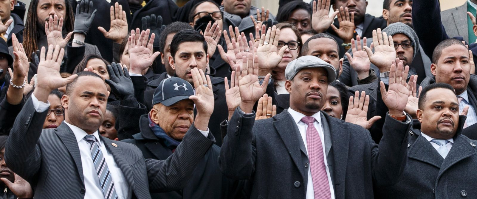 PHOTO: Congressional staff members gather on Capitol Hill in Washington on Dec. 11, 2014, to raise awareness of the recent killings of black men by police officers, both of which did not result in grand jury indictments.