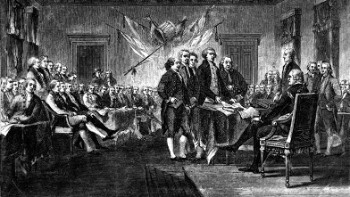 PHOTO: This undated engraving shows the scene on July 4, 1776 when the Declaration of Independence was approved by the Continental Congress in Philadelphia, Pa.