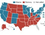 PHOTO: Graphic shows map of the U.S. showing states won, chart of electoral vote totals.