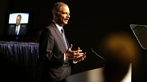 PHOTO: United States Attorney Gen. Eric Holder speaks to the American Bar Association Annual Meeting Aug. 12, 2013, in San Francisco.