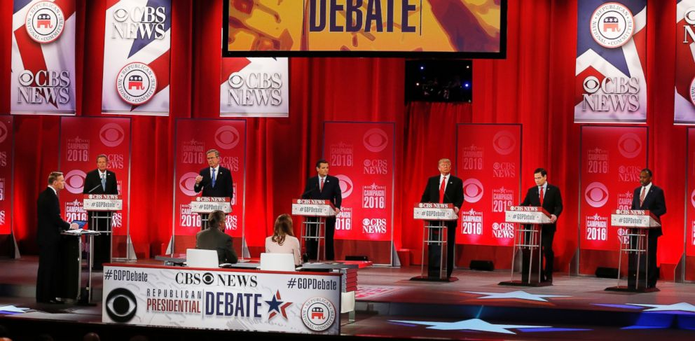 PHOTO: Ohio Gov. John Kasich, former Florida Gov. Jeb Bush, Sen. Ted Cruz, Donald Trump, Sen. Marco Rubio, and Ben Carson during the CBS News Republican presidential debate at the Peace Center on Feb. 13, 2016, in Greenville, S.C.