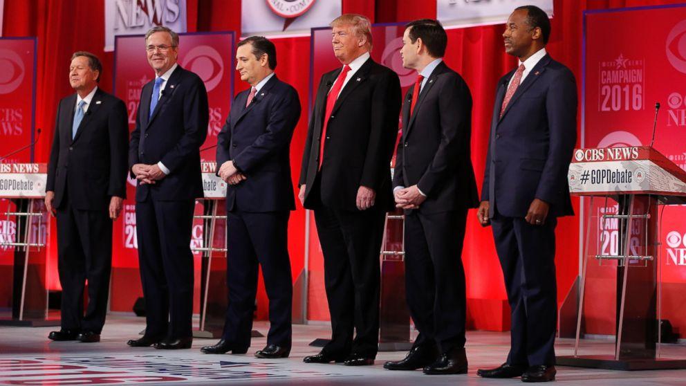 PHOTO: Ohio Gov. John Kasich, former Florida Gov. Jeb Bush, Sen. Ted Cruz, Donald Trump, Sen. Marco Rubio, Ben Carson take the stage before the CBS News Republican presidential debate at the Peace Center on Feb. 13, 2016, in Greenville, S.C.