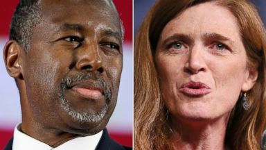 PHOTO: Ben Carson addresses supporters in Michigan on Sept. 23, 2015 and Samantha Power speaks at Madison Square Garden in New York on May 17, 2015.