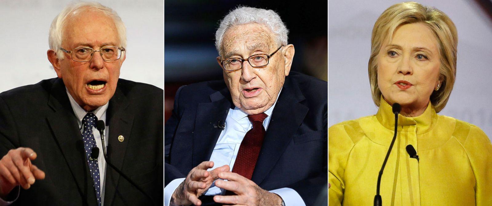 PHOTO: Sen. Bernie Sanders   Henry Kissinger   Hillary Clinton