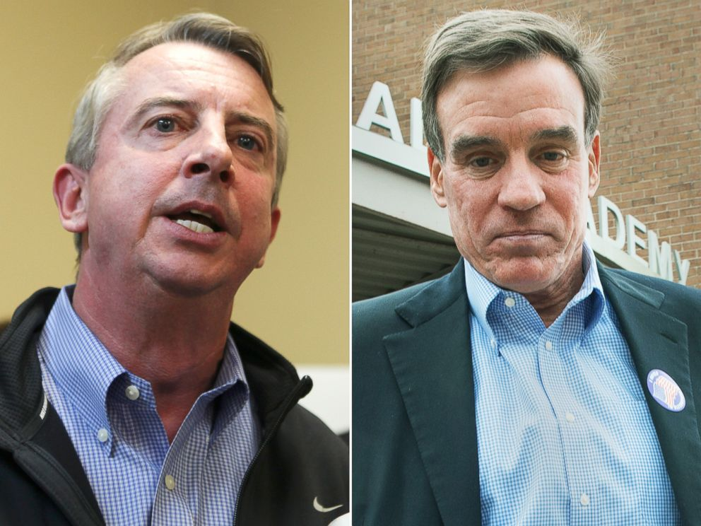 PHOTO: Republican Senate candidate Ed Gillespie campaigns in Roanoke, Va. on Nov. 3 and incumbent Mark Warner departs after casting his ballot in Alexandria, Va. on Nov. 4, 2014.