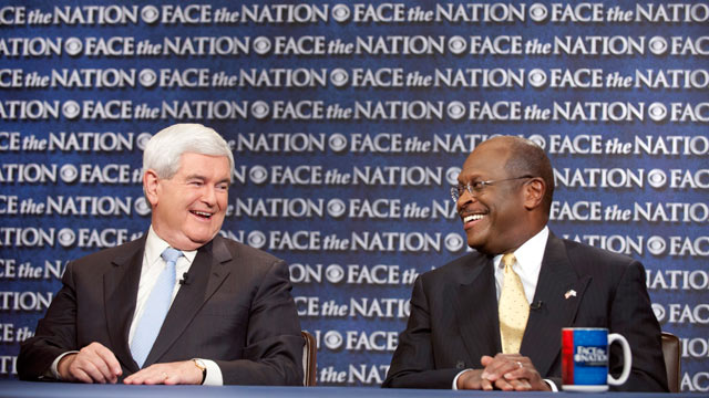 "PHOTO: Republican presidential candidates, businessman Herman Cain, right, and former House Speaker Newt Gingrich talk during their appearance on CBS's ""Face the Nation"" in Washington, Oct. 8, 2011."