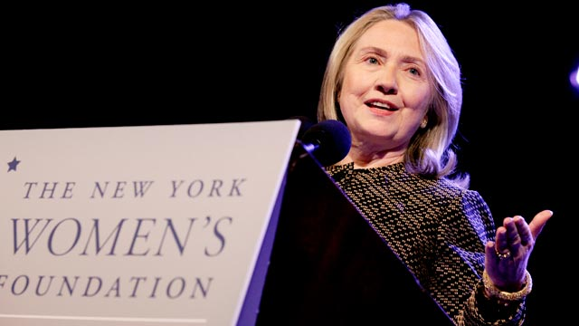 PHOTO: Secretary of State Hillary Rodham Clinton delivers the keynote address to the New York Womens Foundation breakfast in New York on May 10, 2012.