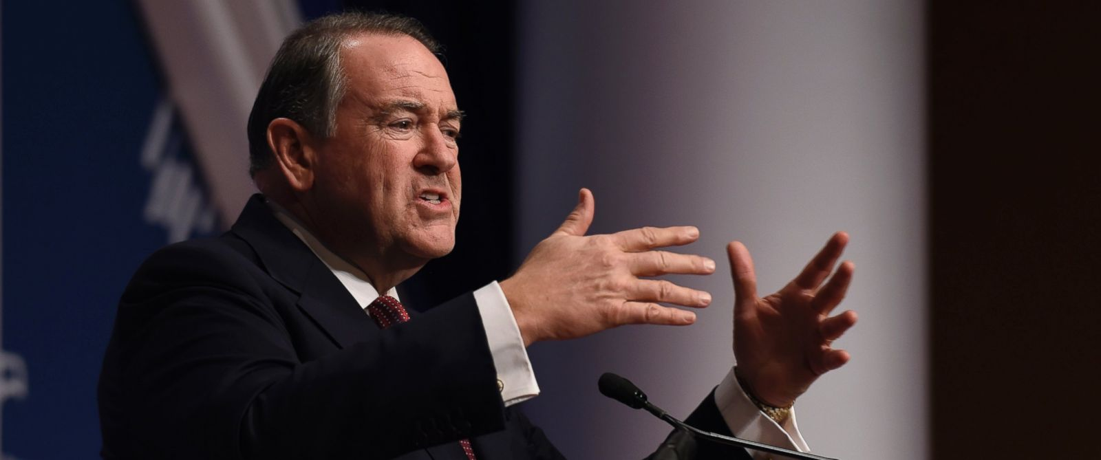 PHOTO: Republican presidential candidate, former Arkansas Gov. Mike Huckabee speaks at the Republican Jewish Coalition Presidential Forum in Washington, Thursday, Dec. 3, 2015.
