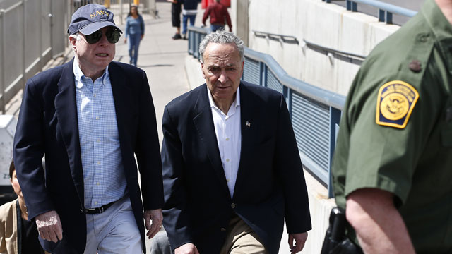 PHOTO: U.S. Sen. John McCain, R-Ariz., left, and Sen. Chuck Schumer, D-N.Y., tour the Nogales port of entry during their tour of the Mexico border with the United States on Wednesday, March 27, 2013, in Nogales, Ariz.