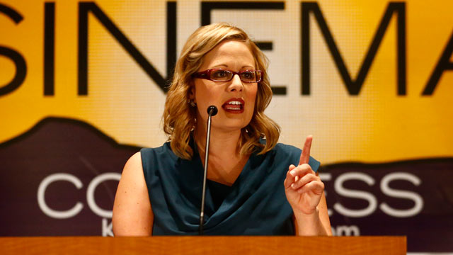PHOTO: Kyrsten Sinema addresses the crowd election night for the U.S. House race in District 9 at the Renaissance Phoenix Downtown Hotel in Phoenix, Nov. 6, 2012.