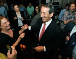 PHOTO: Former South Carolina Gov. Mark Sanford is greeted by supporters as he arrives to give his victory speech, May 7, 2013, in Mt. Pleasant, S.C.